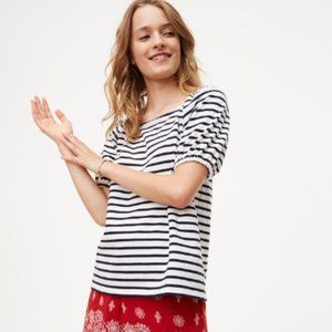 Loft Black and White Striped Short Sleeve Top